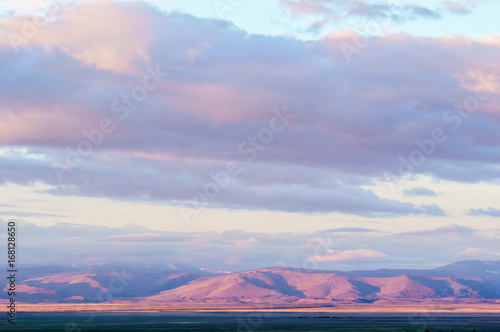 Aluminium Prints Light pink Scenic sunset and sunrise in mountainous region of Altai