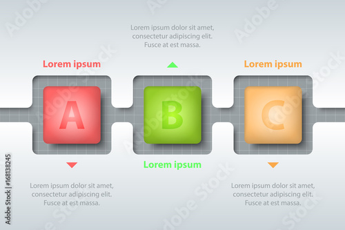 three topics of colorful 3d square in timeline carve white template
