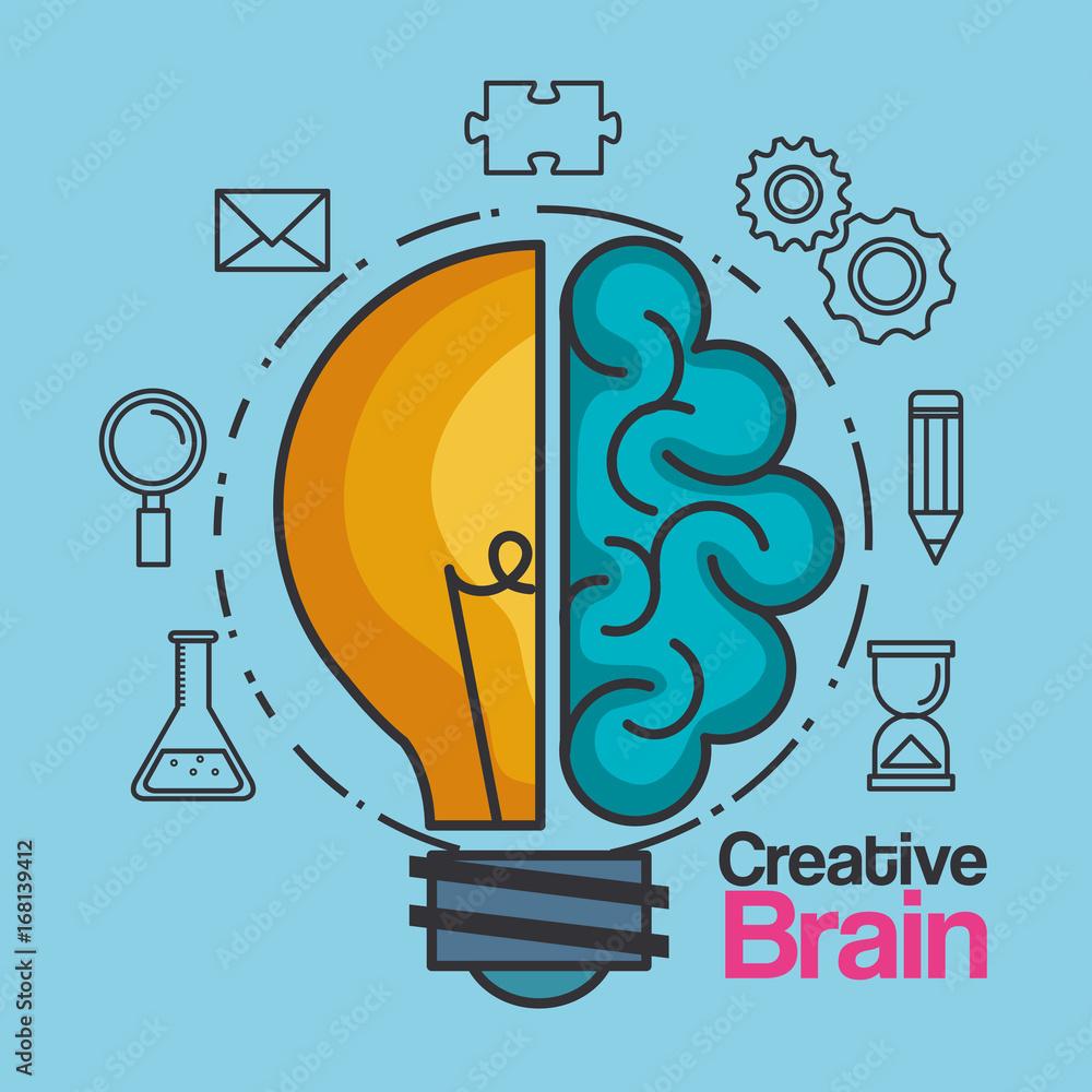 Fototapeta creative brain idea lightbulb innovation vector illustration