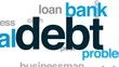 Debt animated word cloud, text design animation.