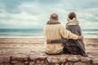 canvas print picture - Senioren entspannen am Strand