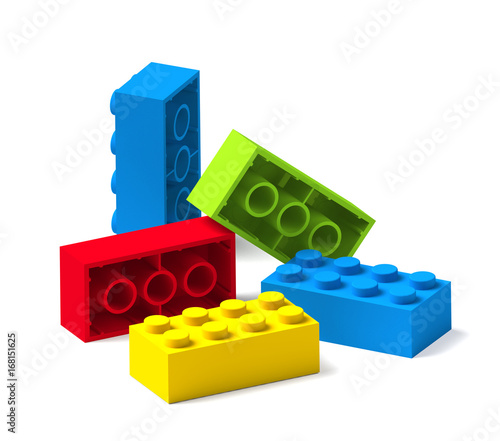 Colorful building toy blocks 3D Canvas Print