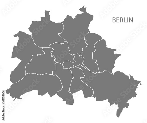 Berlin city map with boroughs grey illustration silhouette shape Canvas Print