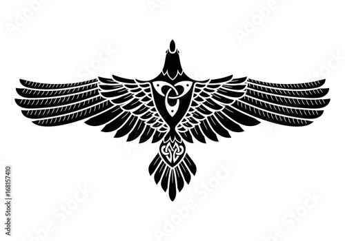 The Raven of Odin, In Norse, Celtic style Wallpaper Mural
