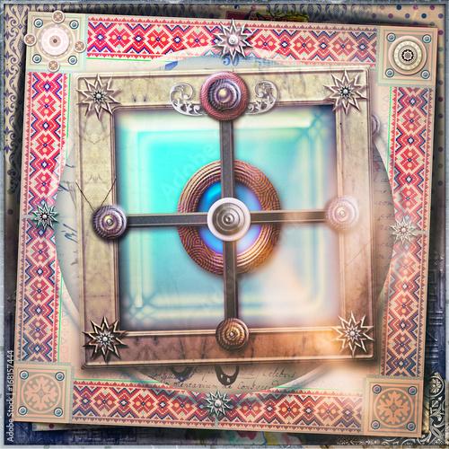 Papiers peints Imagination Mystical window with Celtic cross - Graal