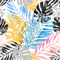 Fototapeta Liście Art illustration: trendy tropical leaves filled with watercolor grunge marble texture, doodle elements background.