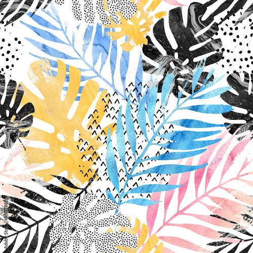 ilustracja-sztuki-modne-tropikalne-liscie-wypelnione-akwarela-grunge-tekstury-marmuru-doodle-elementy-tla