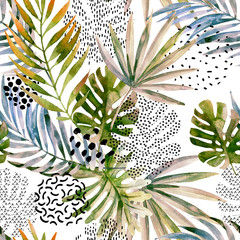 FototapetaAbstract palm, monstera leaf seamless pattern.