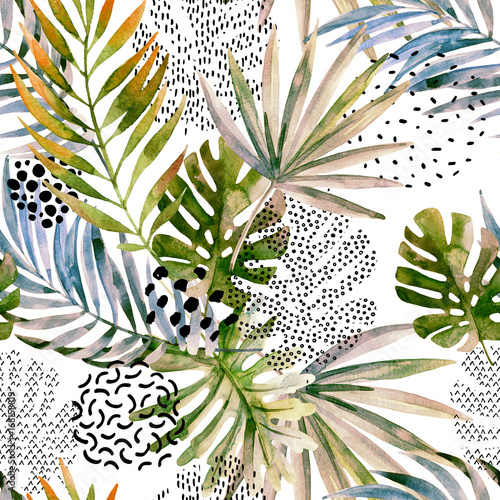 Stickers pour porte Empreintes Graphiques Abstract palm, monstera leaf seamless pattern.