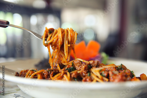 Spaghetti bolognese beef tomato sauce with vegetables italian food Canvas Print