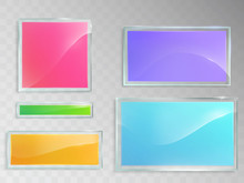 Set Of Vector Illustrations Of Glass Banners Pink, Green, Blue, Orange, Purple Colors, Isolated On Gray Background. Template, Element For Design.