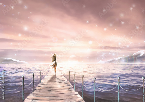 Nice illustration with sunlight. A girl in a dress  standing on a pier by the sea. Painting. Glare at dawn or sunset. Pastel pink and blue colors. Fantasy