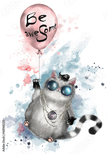 Photo  Illustration of a cute cat in rocker style, with round glasses and jewelry