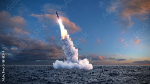 Photo  The launch of a ballistic missile from under water