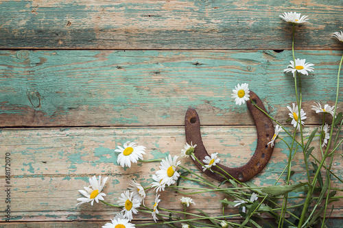 Rustic background with rusty horseshoe and daisies on old wooden boards. Copy space.