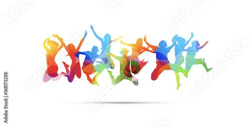 bambino, saltare, cromoterapia, gioco, giocare Wallpaper Mural