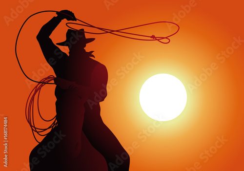 cow-boy - lasso - coucher de soleil - cheval - fond, western Canvas-taulu