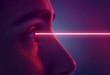 canvas print picture - Laserstrahl trifft auf Auge