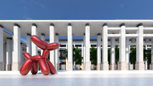 Red Balloon Dog Sculpture Outd...