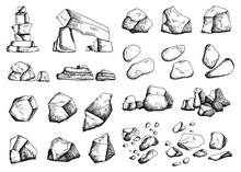 Stones Different Set Of Sketch. Hand Drawing Vector Illustration