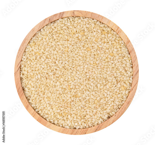 Top view of white sesame in wooden cup isolated on white background