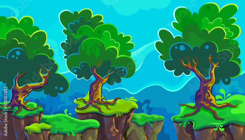 Photo Stands Turquoise Vector cartoon illustration of landscape
