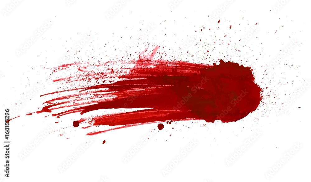 Fotografía  Blood splatter painted vector isolated on white for design