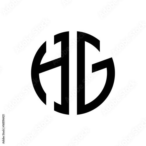 initial letters logo hg black monogram circle round shape vector ...