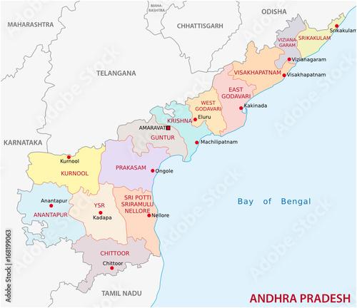 Andhra Pradesh administrative and political map, India - Buy this ...