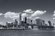 panoramic views of the New York City Manhattan in monochrome blue tonality