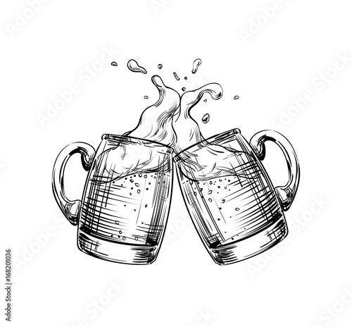 Two Mugs of Beer clink at a toast with a splash of beer foam. Hand drawn illustration for design menu restaurants, pubs, bars, posters for the Festival, Oktoberfest, brewery, banners. Vector sketch
