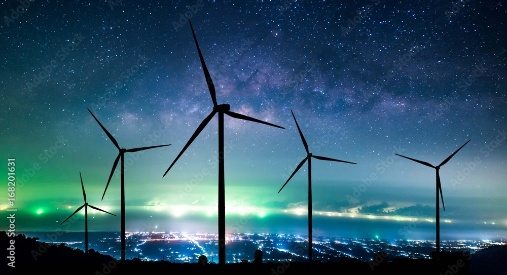 Fototapety, obrazy: Eco power. Wind turbines generating electricity