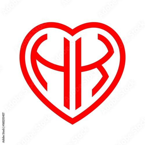 Photo  initial letters logo hk red monogram heart love shape