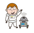 Cartoon Laughing Astronaut with Robot Vector Illustration