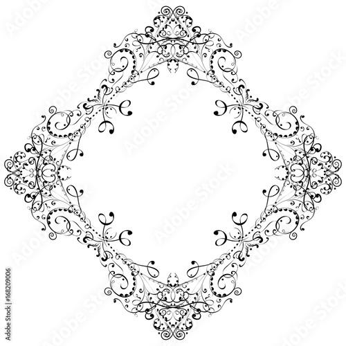 Zdjęcie XXL Kwiatowy rama. Czarny dekoracyjny ornament odizolowywający na białym tle