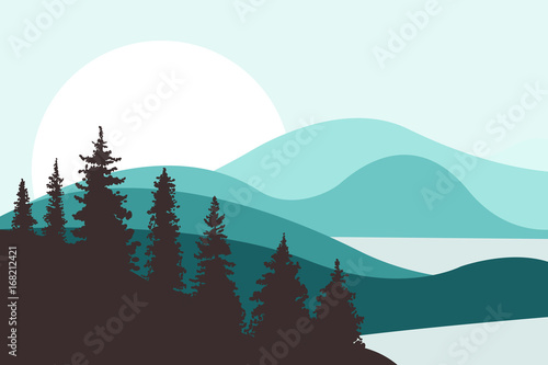 Aluminium Prints Green coral Landscape with hills, mountains, lakes, rivers and the sun in the background. Firs in the foreground. Brown and turquoise colors. Flat style. Vector illustration.