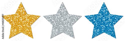 Obraz Stars Sparkling Gold/Silver/Blue - fototapety do salonu