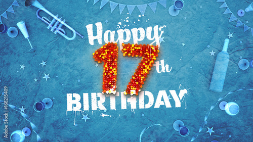 Happy 17th Birthday Card With Beautiful Details Buy This Stock