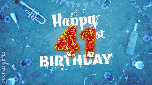 Papel de parede Happy 41st Birthday Card with beautiful details