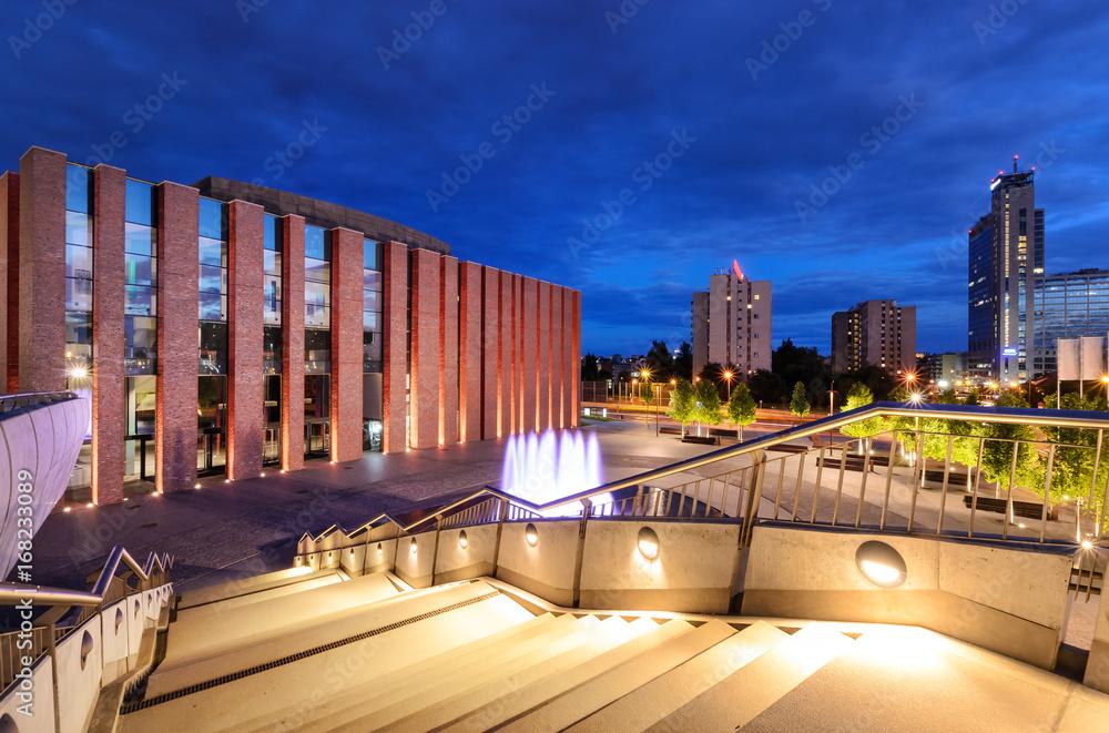 Fototapety, obrazy: Katowice wieczorem. Nocne miasto