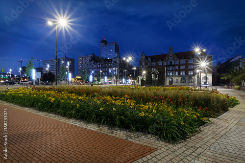 Central square of the Katowice in the evening.