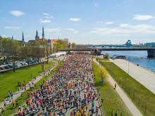 Aerial View Of People Running ...