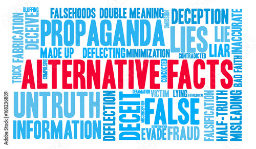 Papel de parede Alternative Facts Word Cloud on a white background.