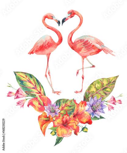 Canvas Prints Flamingo Bird Watercolor pink flamingo and tropical flowers