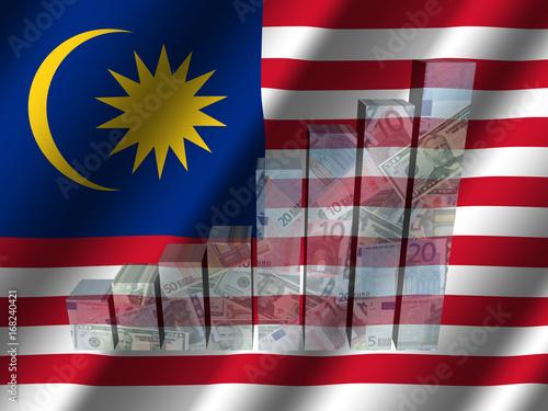 Fotografía  Currency graph on rippled Malaysian flag illustration