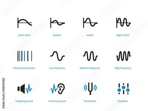 Valokuva  Music and audio types duotone icons on white background.