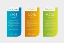 Set Tariffs For Website. Interface For The Site. Ui Ux Vector Banner For Web App. Pricing Table, Banner, Order, Box, Button