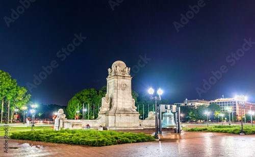 Columbus Fountain in front of Union Station in Washington DC at night Canvas Print