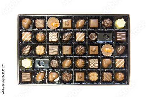 Box of delicious chocolates box isolated on white background