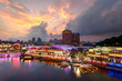 canvas print picture - Colorful light building at night in Clarke Quay, Singapore. Clarke Quay, is a historical riverside quay in Singapore.